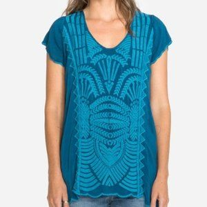 Johnny Was Blue Tide Lamonay Embroidered Tunic - L